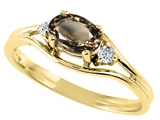 Tommaso Design™ Oval 6x4 mm Genuine Smoky Quartz and Diamond Ring