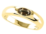 Tommaso Design™ Oval 6x4mm Genuine Smoky Quartz Ring