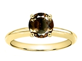 Tommaso Design™ Round 7mm Genuine Smoky Quartz Solitaire Engagement Ring