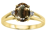 Tommaso Design™ Oval 8x6 mm Genuine Smoky Quartz and Diamond Ring
