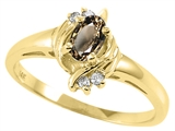 Tommaso Design™ Oval 5x3 mm Genuine Smoky Quartz and Diamond Ring