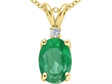 Tommaso Design™ Oval 8x6 mm Genuine Emerald And Diamond Pendant