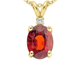 Tommaso Design™ Oval 9x7 mm Genuine Garnet And Diamond Pendant