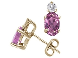 Tommaso Design Genuine Oval Pink Sapphire and Diamond Earrings