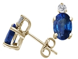 Tommaso Design™ Oval 6x4 mm Genuine Sapphire And Diamond Earring Studs