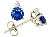 Tommaso Design™ Round 5mm Genuine Sapphire Earrings style: 24176