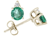 Tommaso Design Round 4.5 mm Genuine Emerald and Diamond Earrings