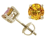 Tommaso Design™ Round 5 mm Genuine Yellow Sapphire Screw Back Earring Studs