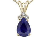 Tommaso Design™ Pear Shape 8x6mm Genuine Sapphire Pendant style: 24268