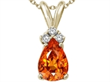 Tommaso Design™ Pear Shape 8x6mm Genuine Orange Sapphire and Diamond Pendant style: 24270