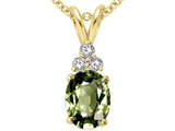 Tommaso Design™ Genuine Oval Green Sapphire and Diamond Pendant