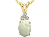 Tommaso Design Genuine Opal Oval 8x6 and Diamond Pendant