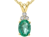 Tommaso Design Genuine Emerald and Damond Pendant