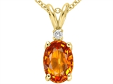Tommaso Design™ Oval Genuine Orange Sapphire Pendant style: 24295
