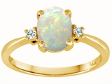 Tommaso Design Genuine 8x6mm Oval Opal and Diamond 3 stone Engagement Ring