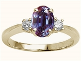 Tommaso Design Oval 9x7 mm Simulated Alexandrite And Genuine Diamond Engagement Ring