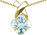Tommaso Design Genuine Clover Cut Aquamarine Pendant