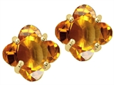 Tommaso Design™ Genuine Clover Cut Citrine Earrings style: 24337