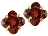Tommaso Design™ Genuine Clover Cut Garnet Earrings