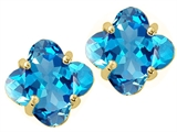 Tommaso Design Genuine Clover Cut Blue Topaz Earrings