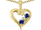 Tommaso Design Genuine Sapphire and Diamond Heart Pendant