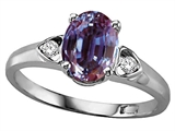 Tommaso Design Oval 8x6 mm Simulated Alexandrite And Genuine Diamond Ring