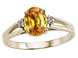 Tommaso Design™ Oval 7x5mm Genuine Yellow Sapphire Ring