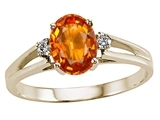 Tommaso Design™ Oval 7x5mm Genuine Orange Sapphire Ring
