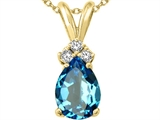 Tommaso Design™ Pear Shape 8x6mm Genuine Blue Topaz and Diamond Pendant