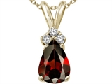 Tommaso Design Pear Shape 8x6mm Genuine Garnet and Diamond Pendant
