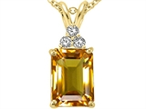 Tommaso Design™ Emerald Cut 8x6mm Genuine Citrine and Diamond Pendant