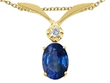 Tommaso Design™ Oval 7x5mm Genuine Sapphire and Diamond Pendant