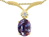 Tommaso Design™ Oval 7x5mm Simulated Alexandrite And Diamond Pendant style: 24428