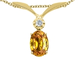 Tommaso Design Oval 7x5mm Genuine Yellow Sapphire and Diamond Pendant
