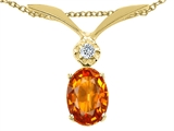Tommaso Design™ Oval 7x5mm Genuine Orange Sapphire and Diamond Pendant