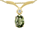 Tommaso Design™ Oval 7x5mm Genuine Green Sapphire and Diamond Pendant