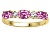 Tommaso Design™ Oval 5x3mm Genuine Pink Tourmaline and Diamond Ring Band