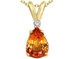 Tommaso Design™ Pear Shape 8x6mm Genuine Orange Sapphire and Diamond Pendant
