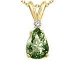 Tommaso Design Pear Shape 8x6mm Genuine Green Sapphire and Diamond Pendant