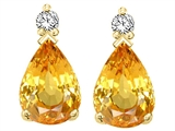 Tommaso Design Pear Shape 8x6mm Genuine Yellow Orange Sapphire and Diamond Earrings