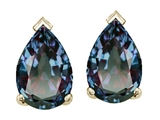 Tommaso Design Pear Shape 7x5mm Simulated Alexandrite Earrings