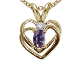 Tommaso Design™ Oval 5x3 mm Simulated Alexandrite And Genuine Diamond Heart Pendant