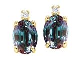 Tommaso Design™ Simulated Alexandrite And Genuine Diamond Earring