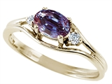 Tommaso Design™ Oval 6x4 mm Simulated Alexandrite And Genuine Diamond Ring