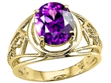 Tommaso Design™ Large Oval Genuine Amethyst Ring