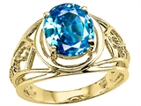 Tommaso Design™ Oval 10x8 mm Genuine Large Blue Topaz Ring