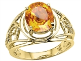 Tommaso Design™ Oval 10x8 mm Genuine Large Citrine Ring