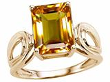 Tommaso Design™ Emerald Cut 10x8 mm Genuine Large Citrine Ring style: 24542
