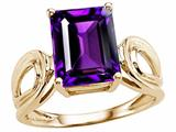 Tommaso Design™ Large Emerald Cut Genuine Amethyst Ring style: 24544
