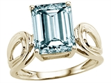 Tommaso Design™ Genuine Large Emerald Cut Aquamarine Ring
